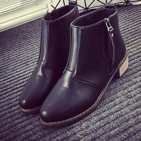Casual PU Low Heel Zipper Boots