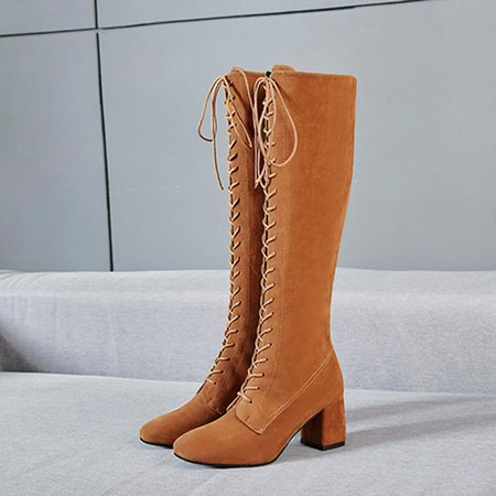 Lace-up Chunky Heel Suede Knee Boots