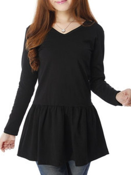 Simple V Neck Long Sleeve Solid Tunic Top