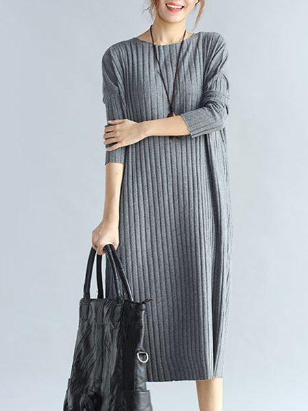 Casual Long Sleeve Cotton-blend Dress