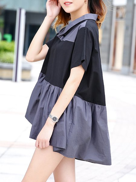 Solid Short Sleeve Sweet Blouse
