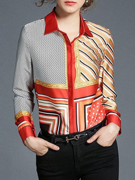 Orange Polyester Shirt Collar Work Shirt