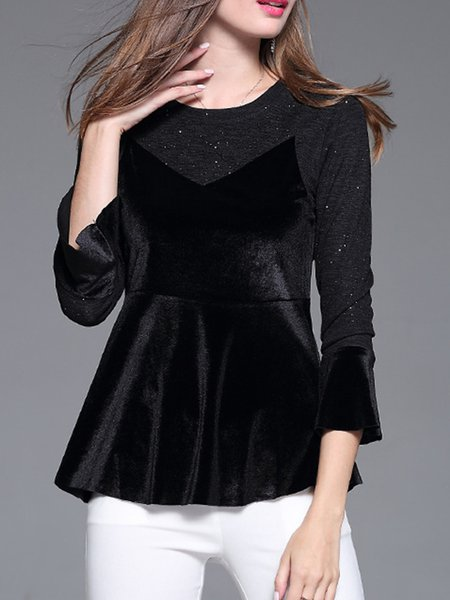 Polyester Sweet Crew Neck Bell Sleeve Solid Blouse