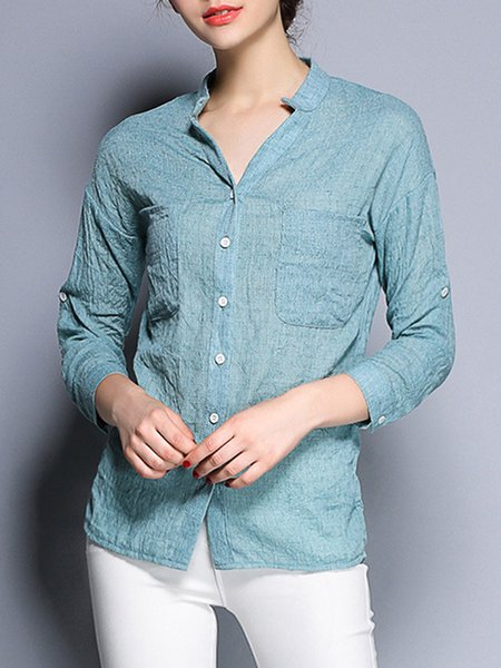 Simple Long Sleeve Solid Linen Stand Collar Shirt