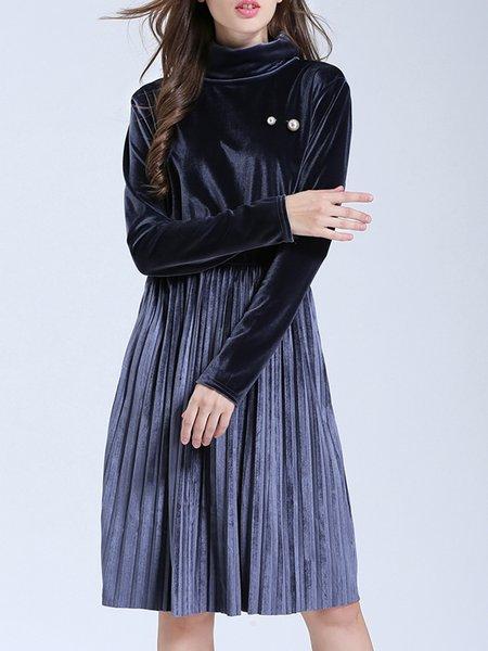 Solid Elegant Turtleneck A-line Dress