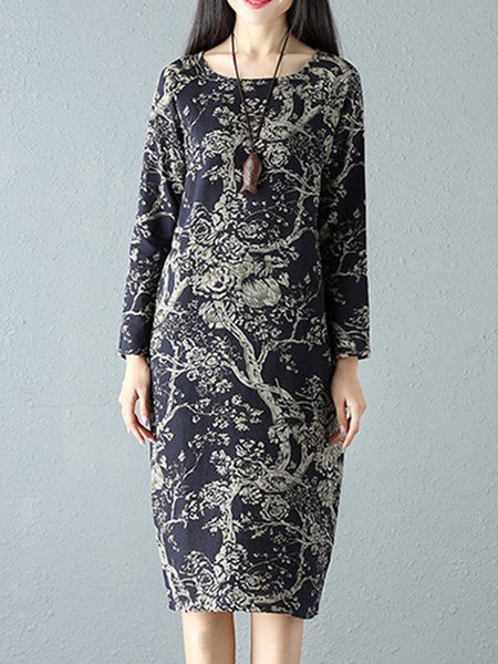 Crew Neck Casual Printed Floral Dress