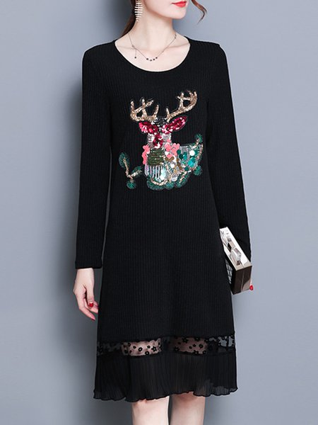 Black Casual Polyester Dress