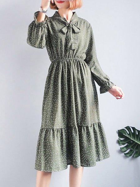 Stand Collar Chiffon Long Sleeve Dress