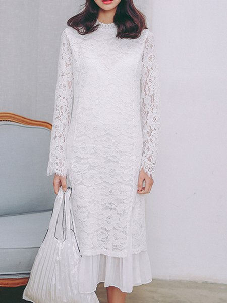 White A-line Plain Elegant Dress