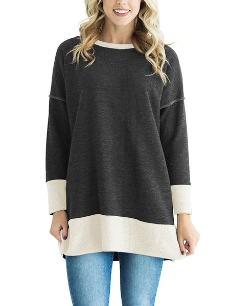 Crew Neck Long Sleeve Casual Color-block Cotton-blend Blouses & Shirt