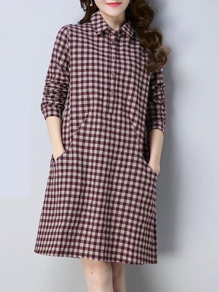 Women Casual Dress Shirt Collar Shift Daytime Long Sleeve Printed Dress