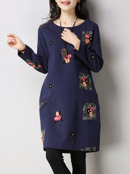 Women Casual Dress Crew Neck Cocoon Daily Casual Floral-embroidered Dress