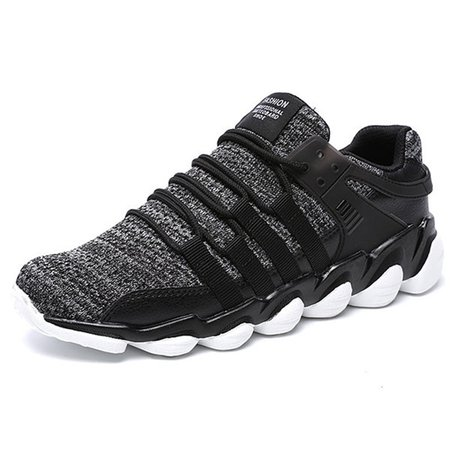 Men Breathable Knitted Fabric Shock Absorption Outdoor Sneakers