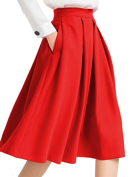 Casual Swing Pleated Skirt