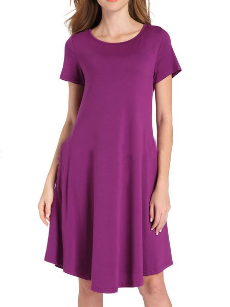 Women Casual Dress Crew Neck A-line Going out Cotton Paneled Dress