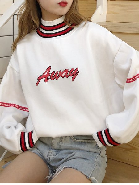 Casual Long Sleeve Cotton Letter Stand Collar Hoodies & Sweatshirt