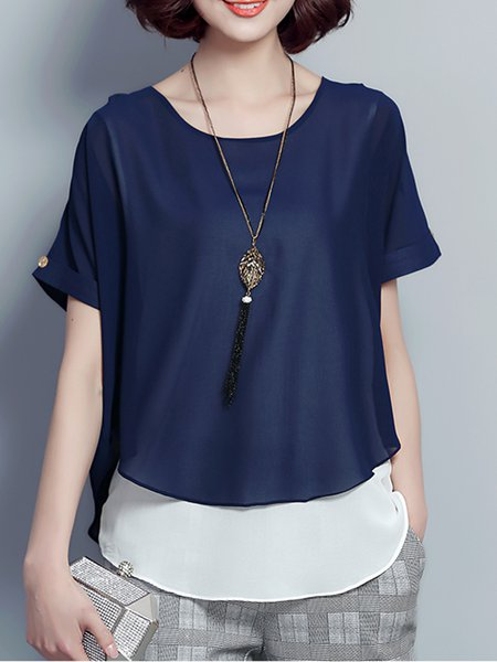 Crew Neck Short Sleeve Asymmetric Tunic Top
