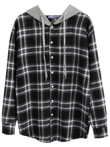 Checkered/Plaid Long Sleeve Casual Hoodie Paneled T-Shirt