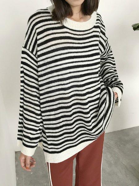 Crew Neck Slit Long Sleeve Polyester Sweater