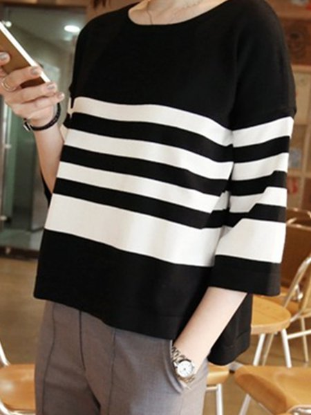 Stripes Casual Slit 3/4 Sleeve T-Shirt