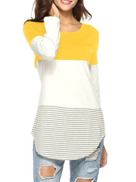 Casual Long Sleeve Crew Neck Asymmetric Cotton T-Shirt