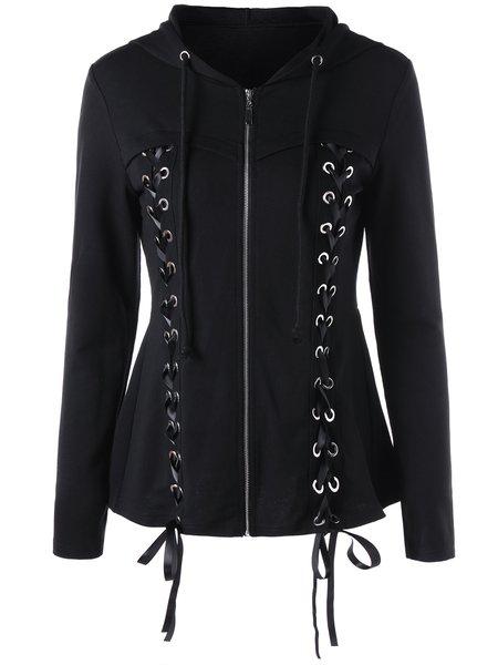 Black Cotton Paneled Long Sleeve Coats & Jacket