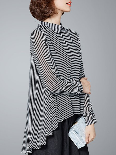 Shirt Collar Long Sleeve Stripes Casual Blouses & Shirt