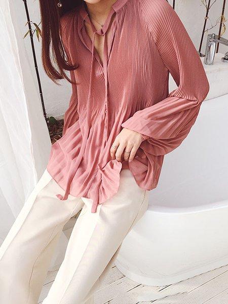 Work Long Sleeve Plain V-Neck Folds Blouses & Shirt