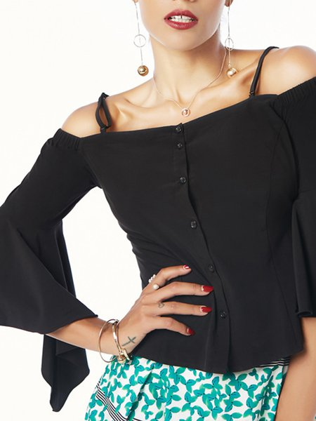 Off Shoulder Polyester Sexy Balloon Sleeve Blouses & Shirt