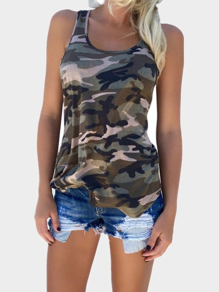 Sleeveless Printed/Dyed Sexy Camouflage Tanks & Cami