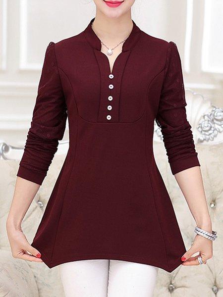 Long Sleeve Asymmetric Buttoned T-Shirt