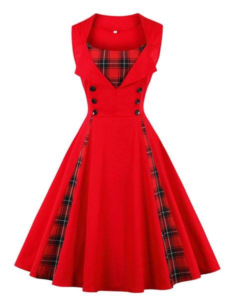 Women Vintage Dress Swing Cocktail Sleeveless Checkered/Plaid Dress
