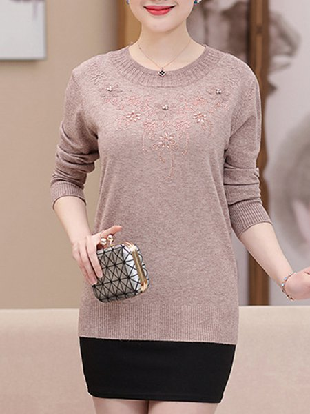Basic Floral Wool Blend Embroidery Sweater