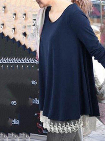 Navy Blue Long Sleeve Cotton-blend Plain Guipure Lace T-shirt