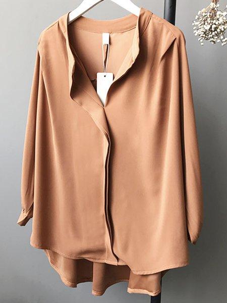 Plain Balloon Sleeve Elegant Paneled Shirts & Blouse
