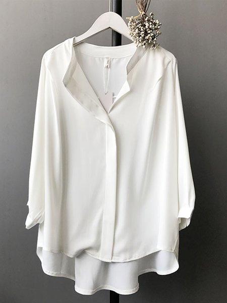 plain balloon sleeve elegant paneled shirts amp blouse