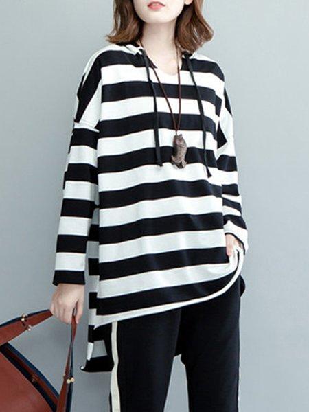 White-black Paneled Hoodie Long Sleeve Stripes Tunic