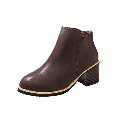 Zipper All Season Dress Chunky Heel PU Boots