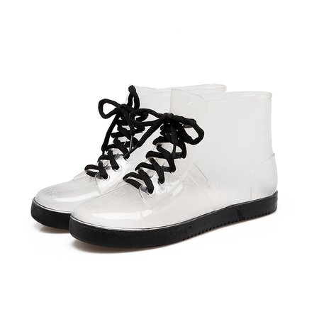 PVC All Season Lace-up Outdoor Flat Heel Rain Boots