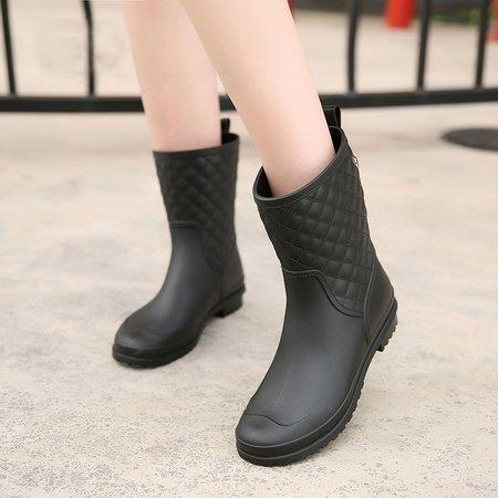 All Season Outdoor Buckle PVC Low Heel Boots