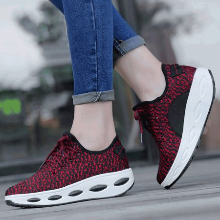 Lace-up Flat Heel All Season Fly-Woven Fabric Sneakers