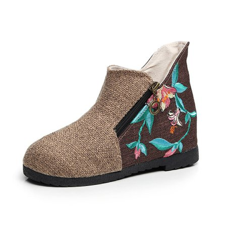 Heel Lifted Floral Embroidered Cloth Boots