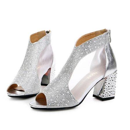 Chunky Heel Rhinestone PU Spring/Fall Sandals
