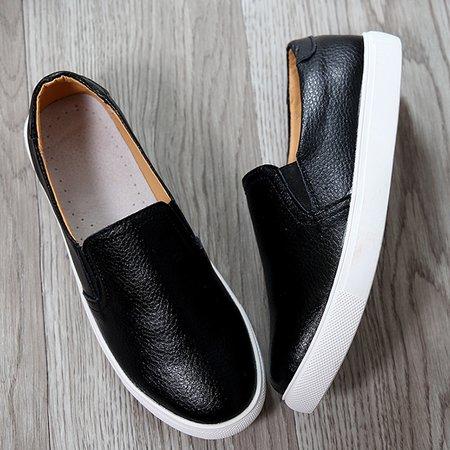 Flat Heel Casual Split Leather Loafers