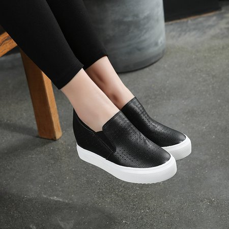 Hollow-out Casual Microfiber Leather Loafers