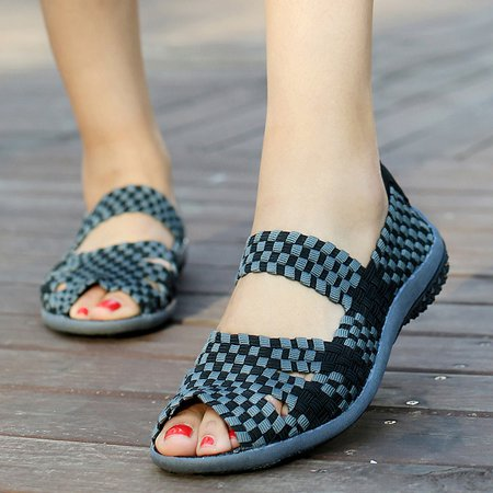 Braided Strap Summer Knitted Fabric Hiking Sandals