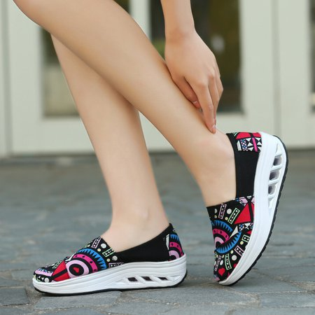 Casual Canvas Floral Print Platform All Season Loafers