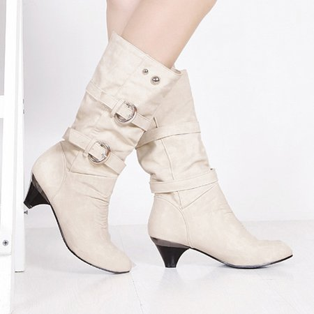 Chunky Heel Spring/Fall Casual Buckle Boots