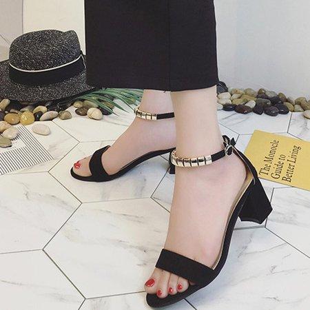 Chunky Heel Suede Buckle Dress Sandals
