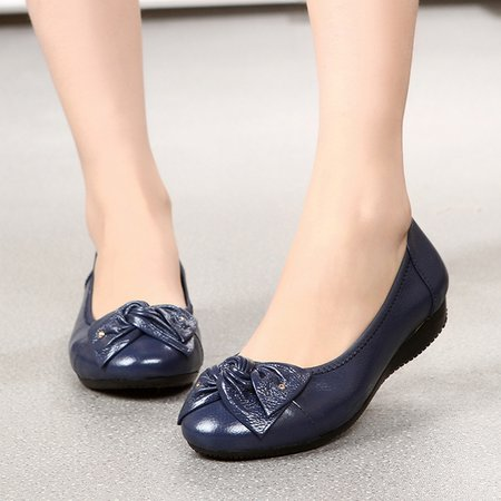 Flat Heel Split Leather Bowknot Casual Flats